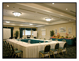 A small formal Cocoa Beach hotel meeting Room